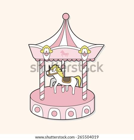 merry-go-round theme elements - stock photo