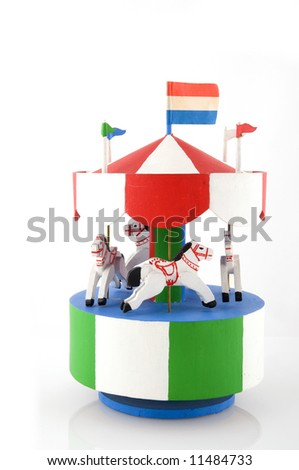 merry-go-round with flags and horses