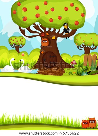 Merry illustration with tree and owl