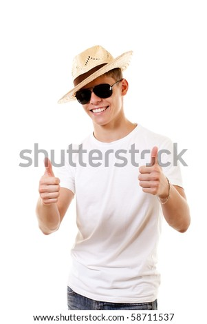 merry lad in hat on white background - stock photo
