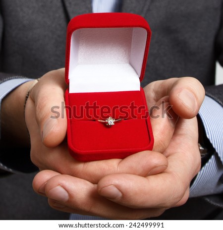 Merry proposal. male hand holds out the engagement ring in red box & Engagement Ring Box Stock Images Royalty-Free Images u0026 Vectors ... Aboutintivar.Com