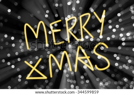 Merry X' Mas with defocused light blur black and white bokeh background - stock photo