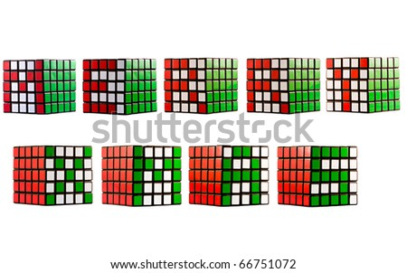 Merry Xmas pattern in cube - stock photo