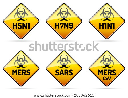 MERS SARS H5N1 Biohazard virus warning sign collection with reflect and shadow on white background - stock photo