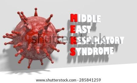 MERS virus epidemic medical background, The Middle East Respiratory Syndrome coronavirus, 3d abstract virus model - stock photo