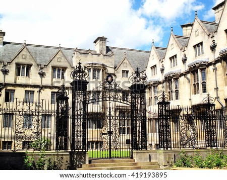 Merton College Oxford University was founded in 1260 by Walter De Merton chancellor to Henry III and could be the oldest of the Oxford Colleges in Oxford, Oxfordshire, UK - stock photo