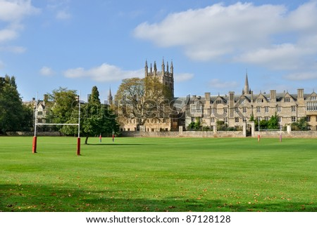 Merton College viewed from Christ Church meadows - stock photo