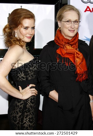 Meryl Streep and Amy Adams at the AFI FEST 2008 Opening Night Film Premiere Of 'Doubt' held at the Grauman's Chinese Theater in Hollywood on November 30, 2008.  - stock photo