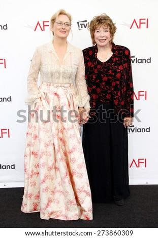 Meryl Streep and Shirley MacLaine at the 40th AFI Life Achievement Award Honoring Shirley MacLaine held at the Sony Studios in Los Angeles on June 7, 2012. - stock photo