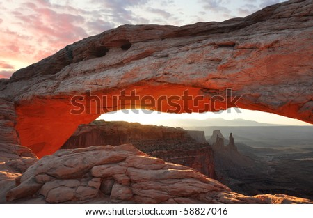 Mesa Arch at Sunrise - stock photo