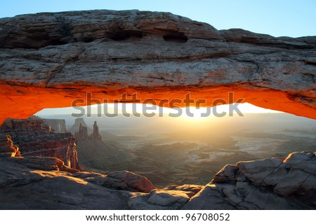 Mesa arch at sunrise, Canyonlands - stock photo