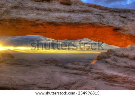 Mesa Arch at Sunrise, Canyonlands National Park, Utah USA. - stock photo