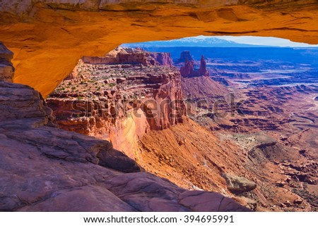 Mesa Arch in Canyonlands National Park in Utah - stock photo