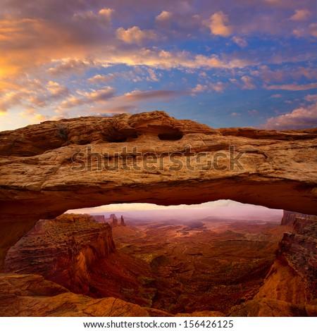 Mesa Arch in Canyonlands National Park Utah USA sunrise photo mount - stock photo