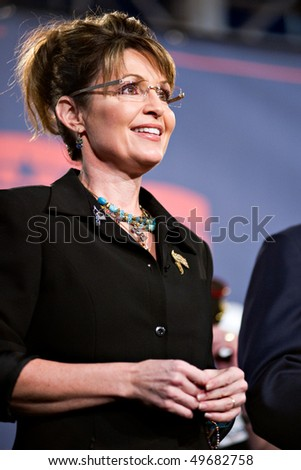 MESA, AZ - MARCH 27: Former Republican Vice Presidential candidate Sarah Palin attends a re-election rally in support of Arizona Senator John McCain on March 27, 2010 in Mesa, AZ. - stock photo