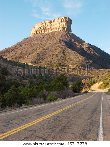 mesa peak and road into Mesa Verde