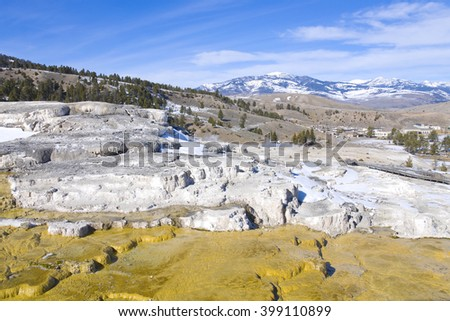 Mesa rock patterns at mammoth hot springs in Yellowstone national park - stock photo