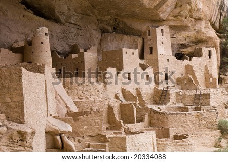 Mesa Verde is a National Park in southern Colorado renown for its Indian Cliff Dwellings. Cliff Palace is the  largest cliff dwelling in North America. - stock photo