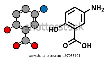 Mesalazine (mesalamine, 5-aminosalicylic acid, 5-ASA) inflammatory bowel disease drug, chemical structure. Used to treat ulcerative colitis and Crohn's disease. Two representations. - stock photo