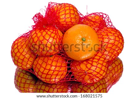 Mesh mandarins from the supermarket. Isolated on white background
