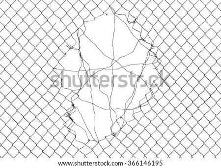 Mesh netting with hole on white background