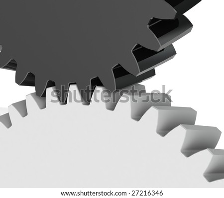 Mesh of Two Gears Isolated on the White Background
