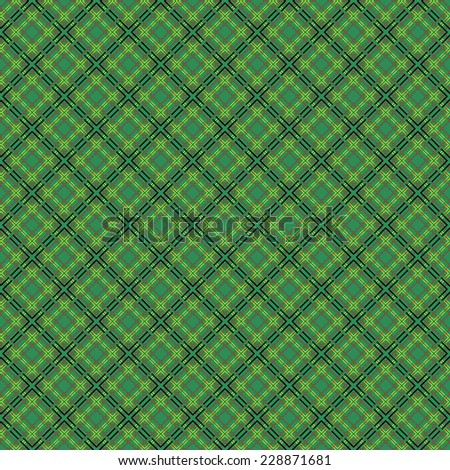 Mesh seamless pattern with single and double dashed lines. Repeat background with geometrical array over green background