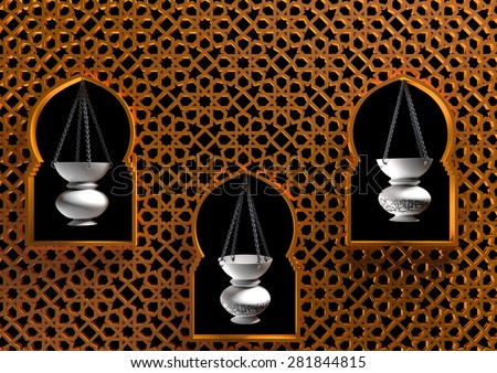 Meshkah - Islamic lantern in mosque - stock photo