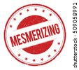 MESMERIZING stamp sign text word logo red. - stock photo