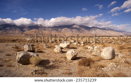 Mesquite Flat Cottonwood Mountains Death Valley Desert Landscape - stock photo
