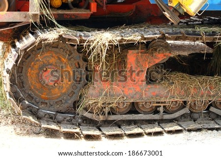 Mess up the wheel harvesters - stock photo