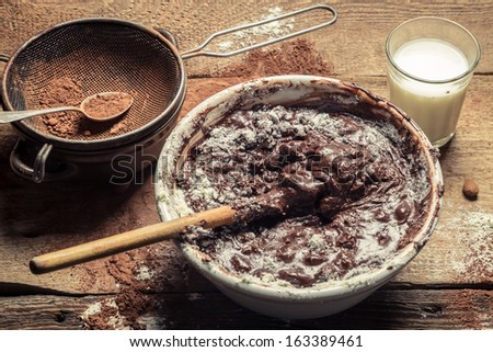 Mess when preparing homemade chocolate - stock photo