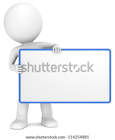 Message Board. 3D little human character The Messenger holding an empty Board. Blue Frame. Copy Space. - stock photo