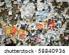 Message board with lots of torn notes - stock photo