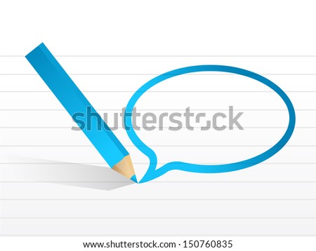 message bubble and pencil illustration design over white - stock photo