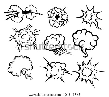 Message bubbles and clouds set in cartoon style isolated on white background. Vector version also available in gallery - stock photo