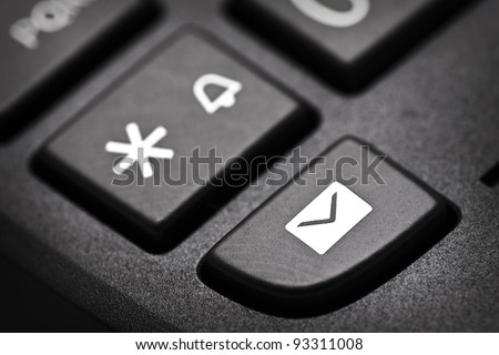 message button on a cordless phone - stock photo