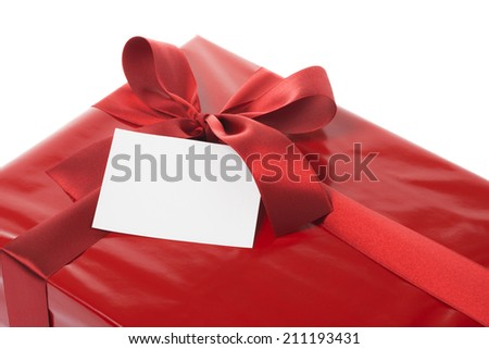 Message card and red gift box - stock photo