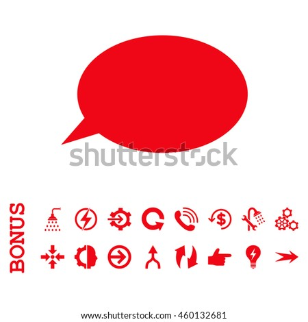 Message Cloud glyph icon. Image style is a flat iconic symbol, red color, white background.