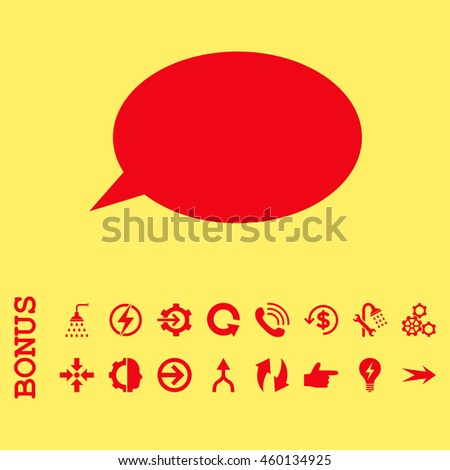 Message Cloud glyph icon. Image style is a flat iconic symbol, red color, yellow background.