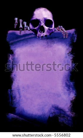 message from the death, grunge halloween poster with skeleton, purple on black background - stock photo