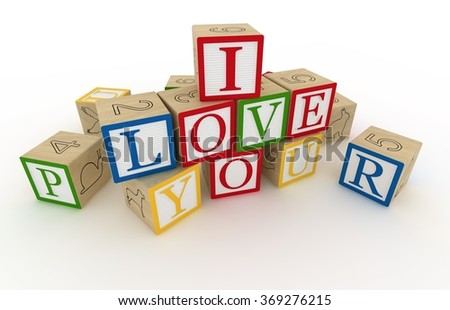 Message I love you spelled in wooden blocks 3d rendering