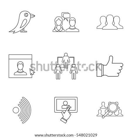 Message icons set. Outline illustration of 9 message  icons for web