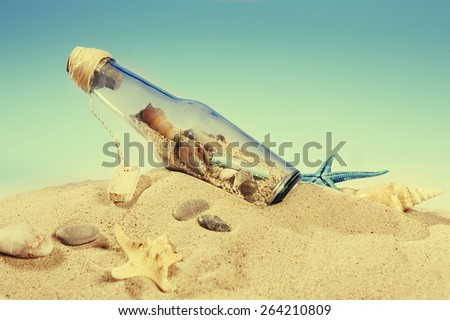 Message in a bottle and marine life on the beach - stock photo