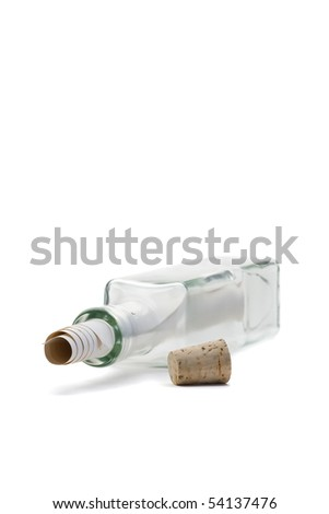 Message in a bottle concept over white background - stock photo