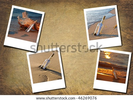 message in bottle photos on textured background - stock photo
