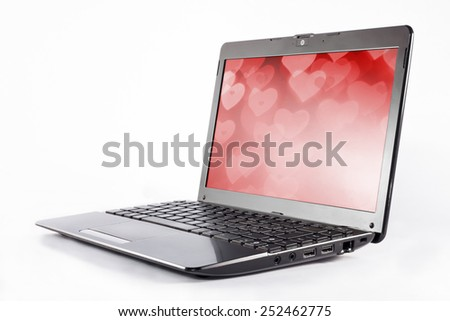 message of love through modern technology of a laptop