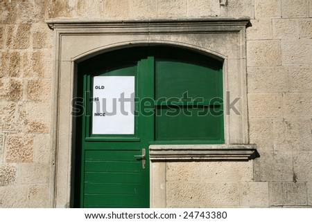"message ""old is nice"", corcula, croatia - stock photo"