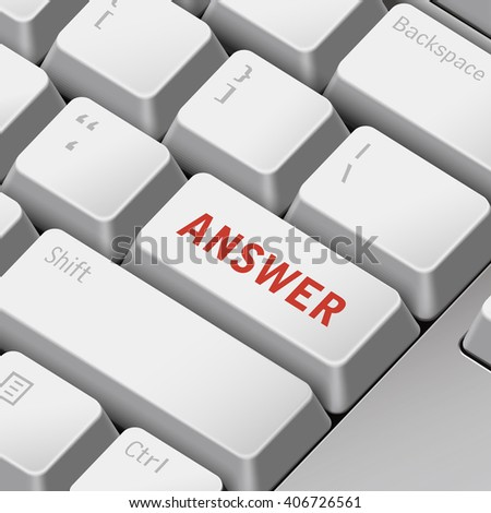 message on keyboard enter key for answer concepts. 3D rendering - stock photo