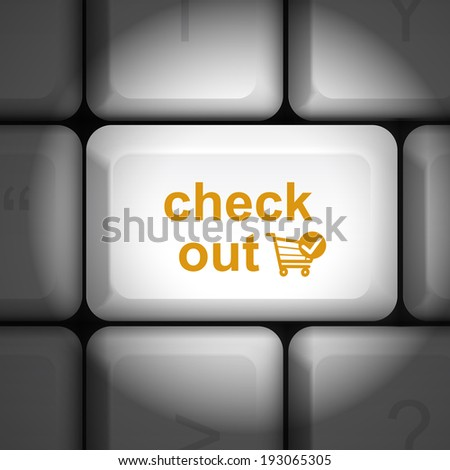 message on keyboard enter key, for check out concepts - stock photo